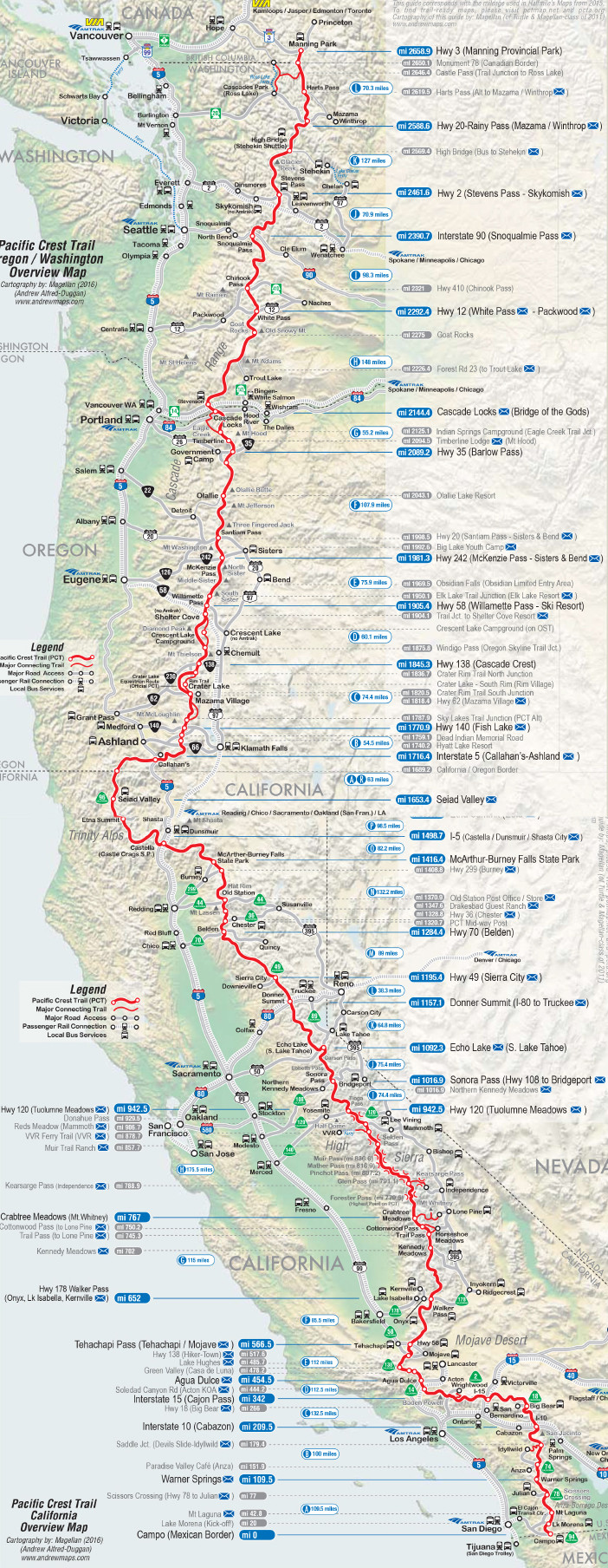 map of towns along the PCT