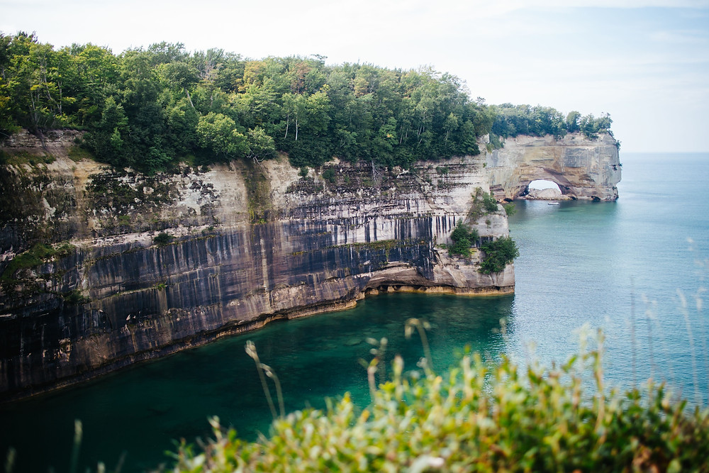 beautiful view of Grand Portal Point at Pictured Rocks