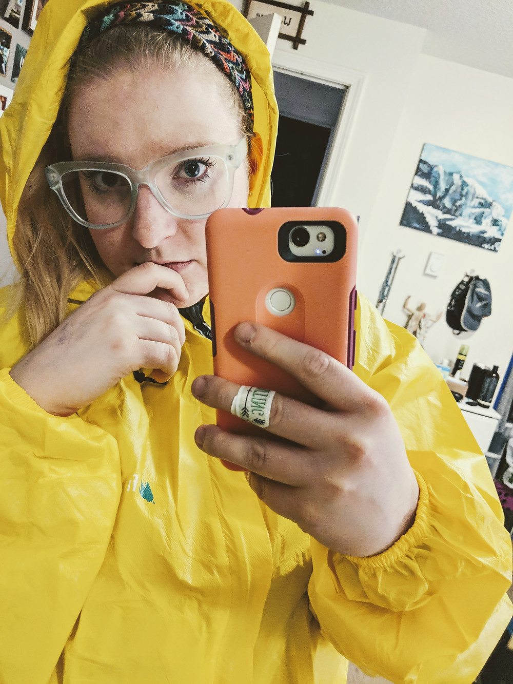 modeling my yellow Frogg Toggs rain jacket
