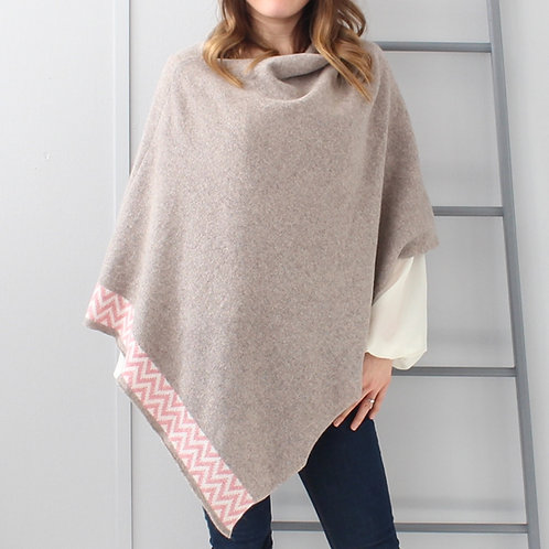 Mink knitted lambswool poncho
