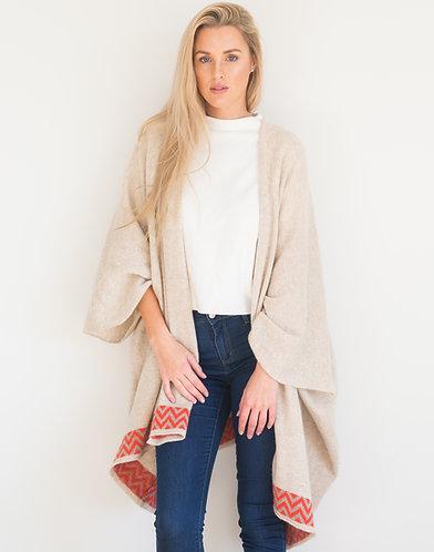 Oatmeal geometric blanket cardigan