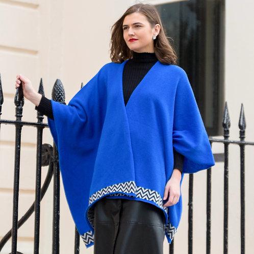 Cobalt Blue Geometric Blanket Cardigan