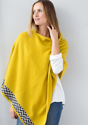 Mustard knitted lambswool poncho