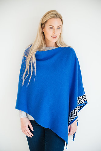 Electric blue knitted lambswool poncho