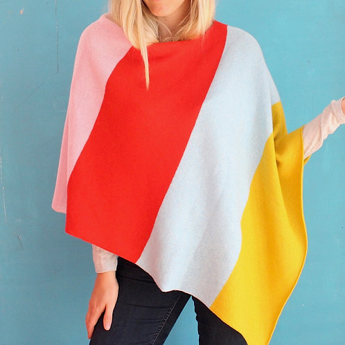 Popsicle knitted poncho