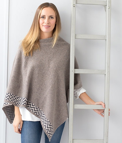 Fawn knitted lambswool poncho