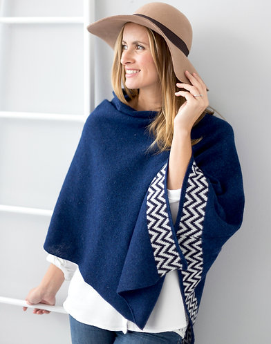 Navy knitted lambswool poncho