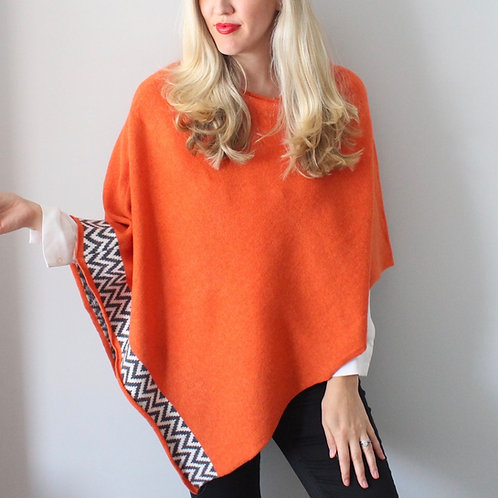 Tangerine knitted poncho