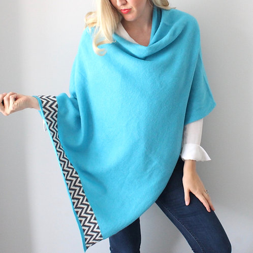 Turquoise knitted lambswool poncho
