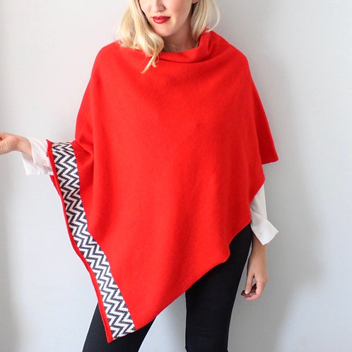 Red knitted lambswool poncho