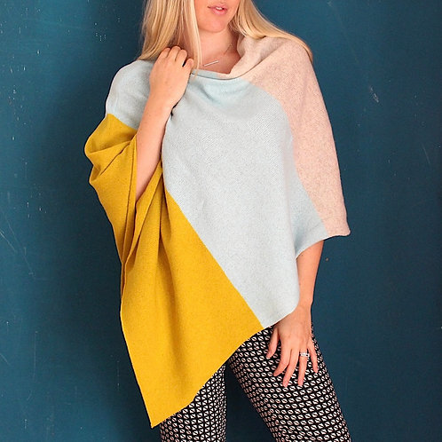 Butter pecan knitted poncho
