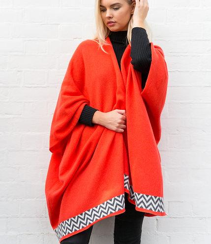 Coral Geometric Blanket Cardigan