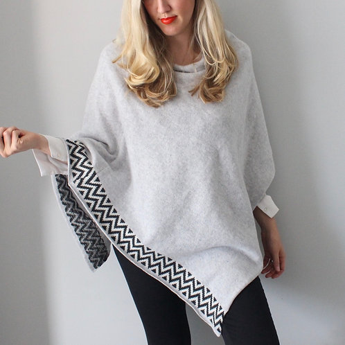 Grey knitted lambswool poncho