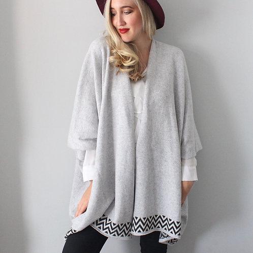Grey Geometric Blanket Cardigan