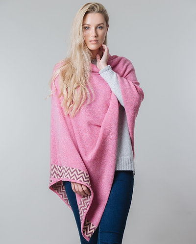 Pink marl knitted lambswool poncho