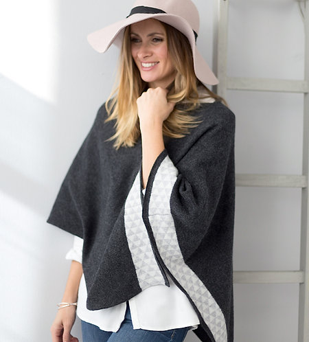 Charcoal knitted lambswool poncho