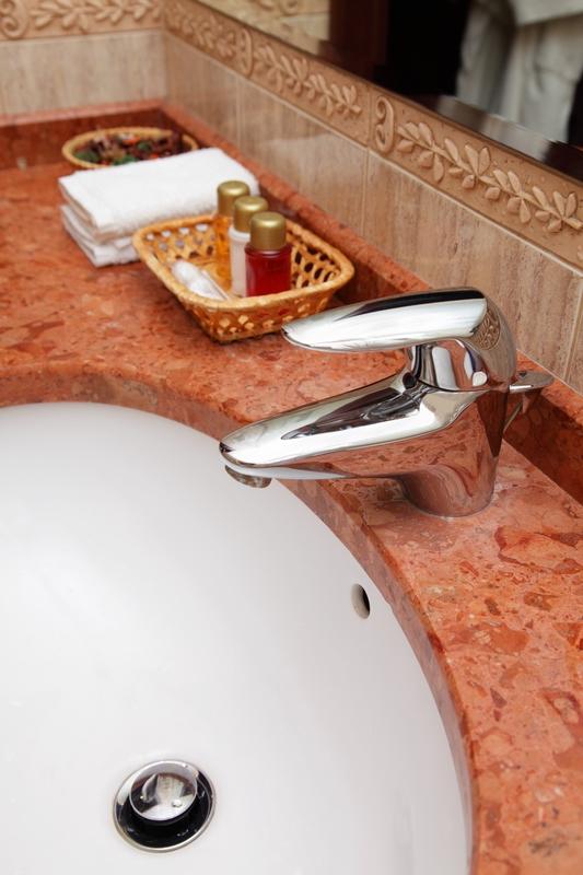 Beautiful rustic red bath countertop