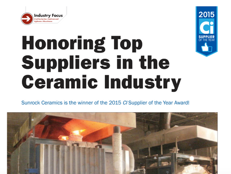 Sunrock Ceramics is the winner of the 2015 Cl Supplier of the Year Award!