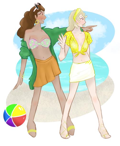 Eliza and Aurora beach day