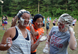 Campers getting messy with whip cream