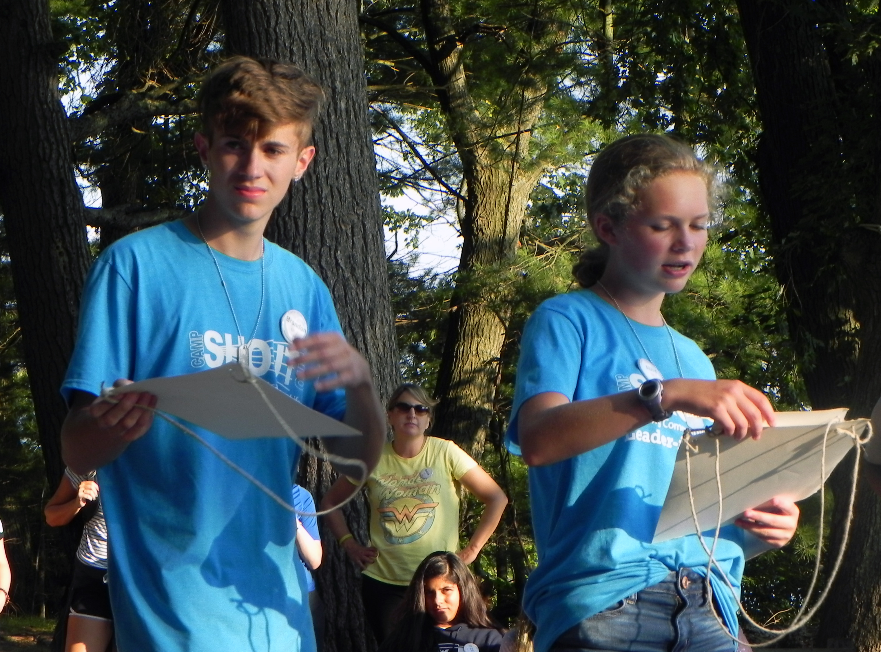 Two campers giving a presentation