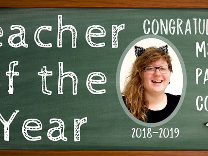 MMAM Art Teacher Paige Colwell named our 2018-19 Teacher of the Year!!!!