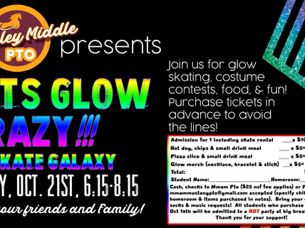 McKinley Mustang PTO Hosting a Skate Glow Party October 21st!
