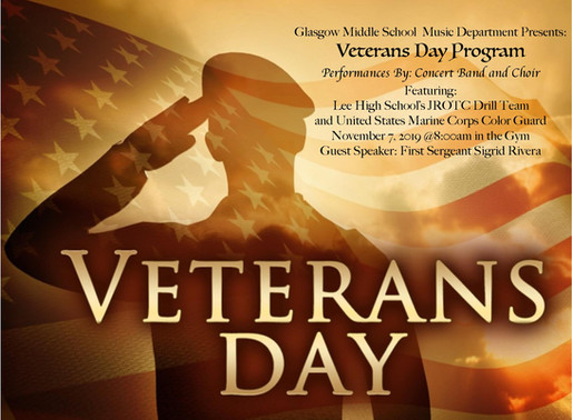 Glasgow Music Department to put on Veterans Day Program November 7th