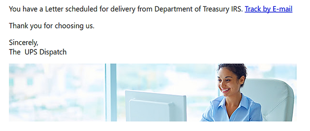 UPS and IRS Themed Tracking Number Phishing Email   Jigsaw