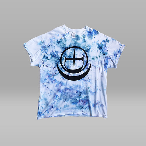 Hand Made Ice Dye Crescent Logo Tee