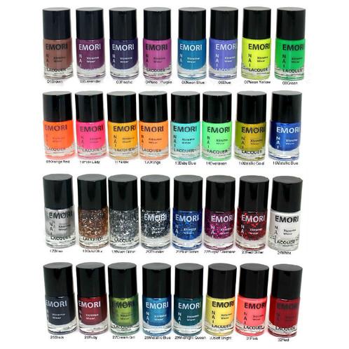 32 Color Nail Lacquer Set Glitter Metallic Neon Polish