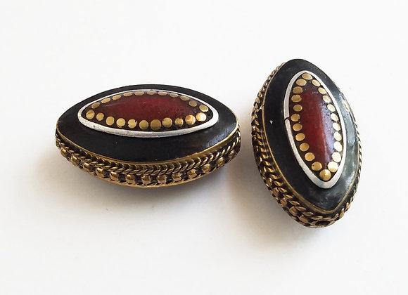 Eye Brass Coral Color Enamel Bead