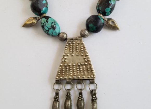 Turquoise Necklace with Afgani Pendant and components