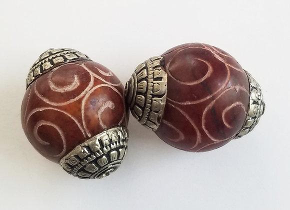 Very large Tibetan White Metal Capped Jade Bead