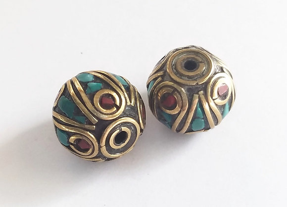 Brass Turquoise and Coral Inlay Round Bead