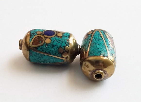 Brass Turquoise Color Enamel Bead