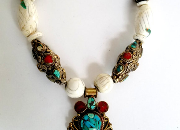 Tibetan Brass Necklace with Pendant