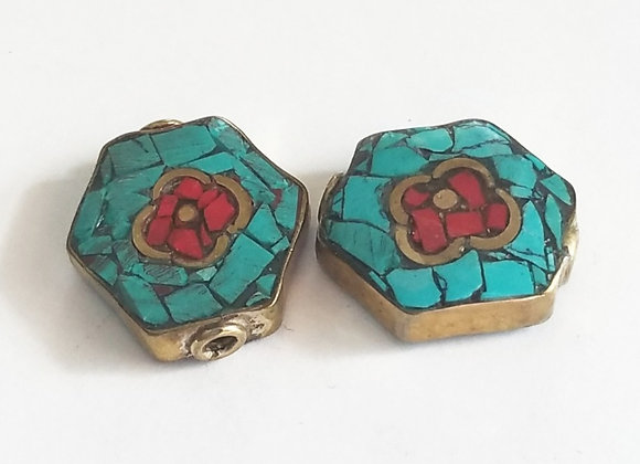 Brass Turquoise Inlay Flower Bead