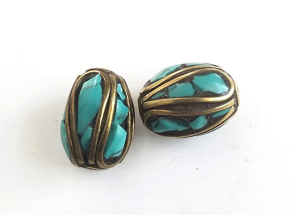 Turquoise and Brass Inlay Tibetan Bead