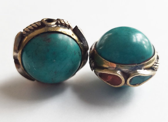 Round Bead with Turquoise and coral Inlay Brass Band