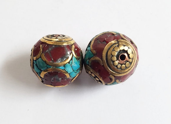 Set of 2 Round Turquoise and Coral Inlay Bead