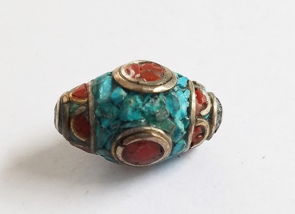 Double Point Turquoise and Coral Inlay Bead