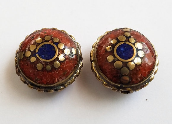 Brass Coral Color Enamel Bead