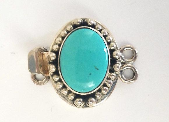 Handmade Stabilized Turquoise 2 strand box clasp