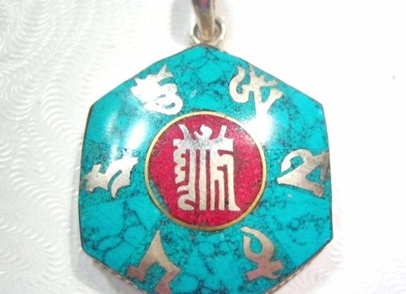 Sterling Silver Tibetan Kalachakra Mantra Pendant