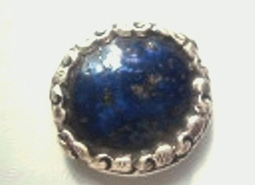 Lapis disc shape bead with silver band