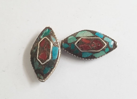 Turquoise Inlay Tibetan Bead