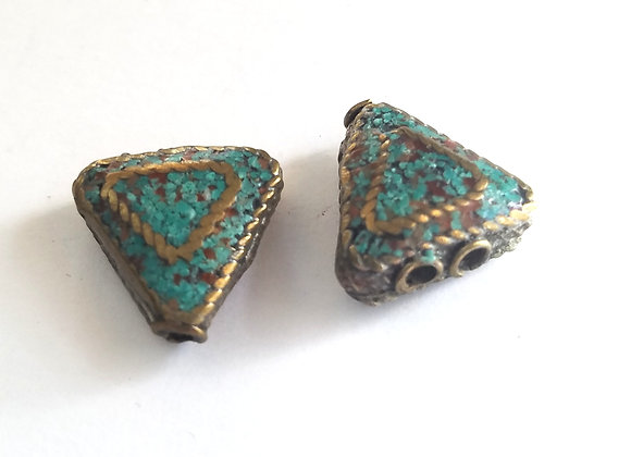 Brass Turquoise inlay Bead 2 strand to 1 strand converter
