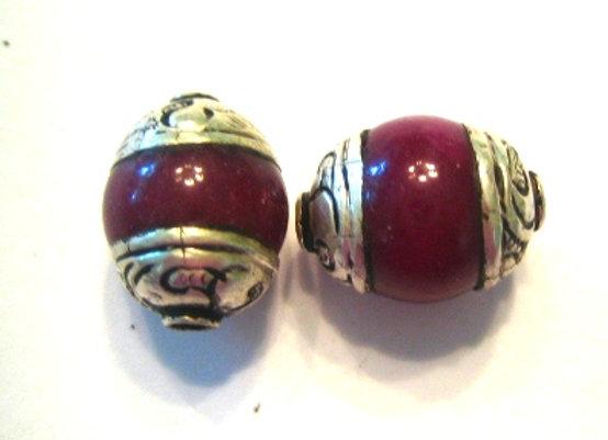 Small Ruby Jade Tibetan Bead with silver cap