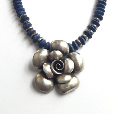 Lapis necklace with Hill Tribe Silver